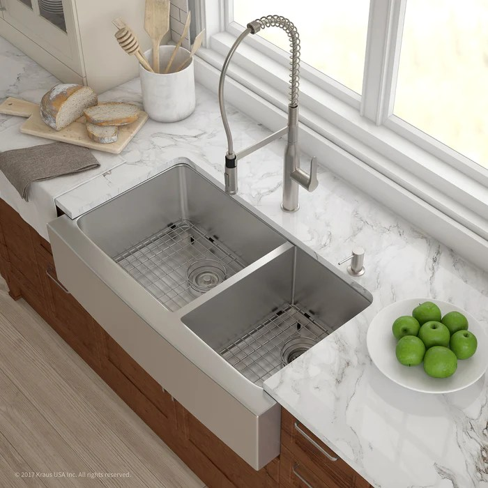 36 kitchen sink waterstone annapolis faucet kraus khf203 inch farmhouse double bowl stainless steel with noisedefend soundproofing
