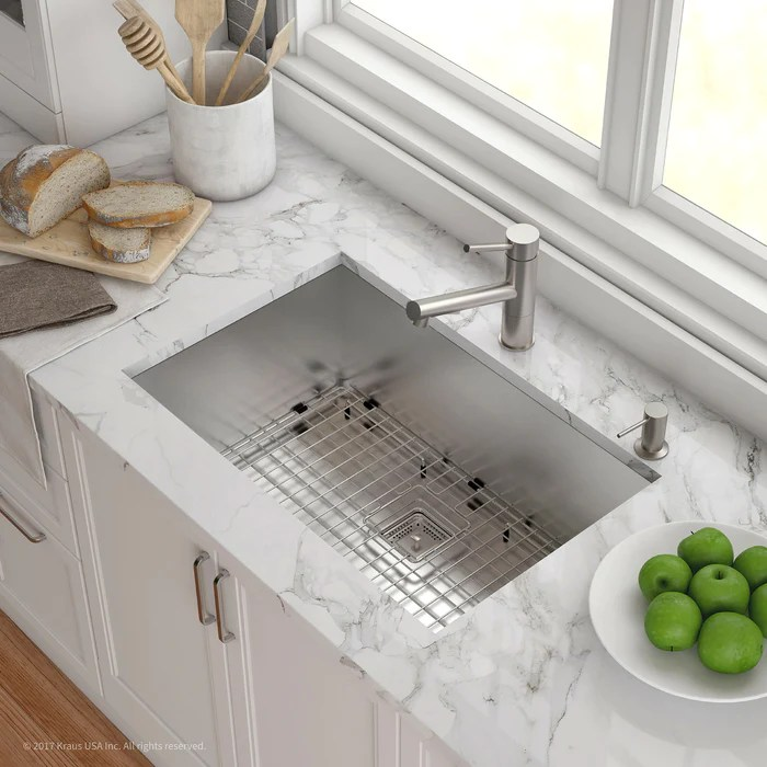 kraus khu29 pax zero radius 28 inch handmade undermount single bowl 16 gauge stainless steel kitchen sink with noisedefend soundproofing