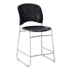Counter Height Chair Small Club Round Back Seat Ultimate Office Plastic W Silver Sled Base