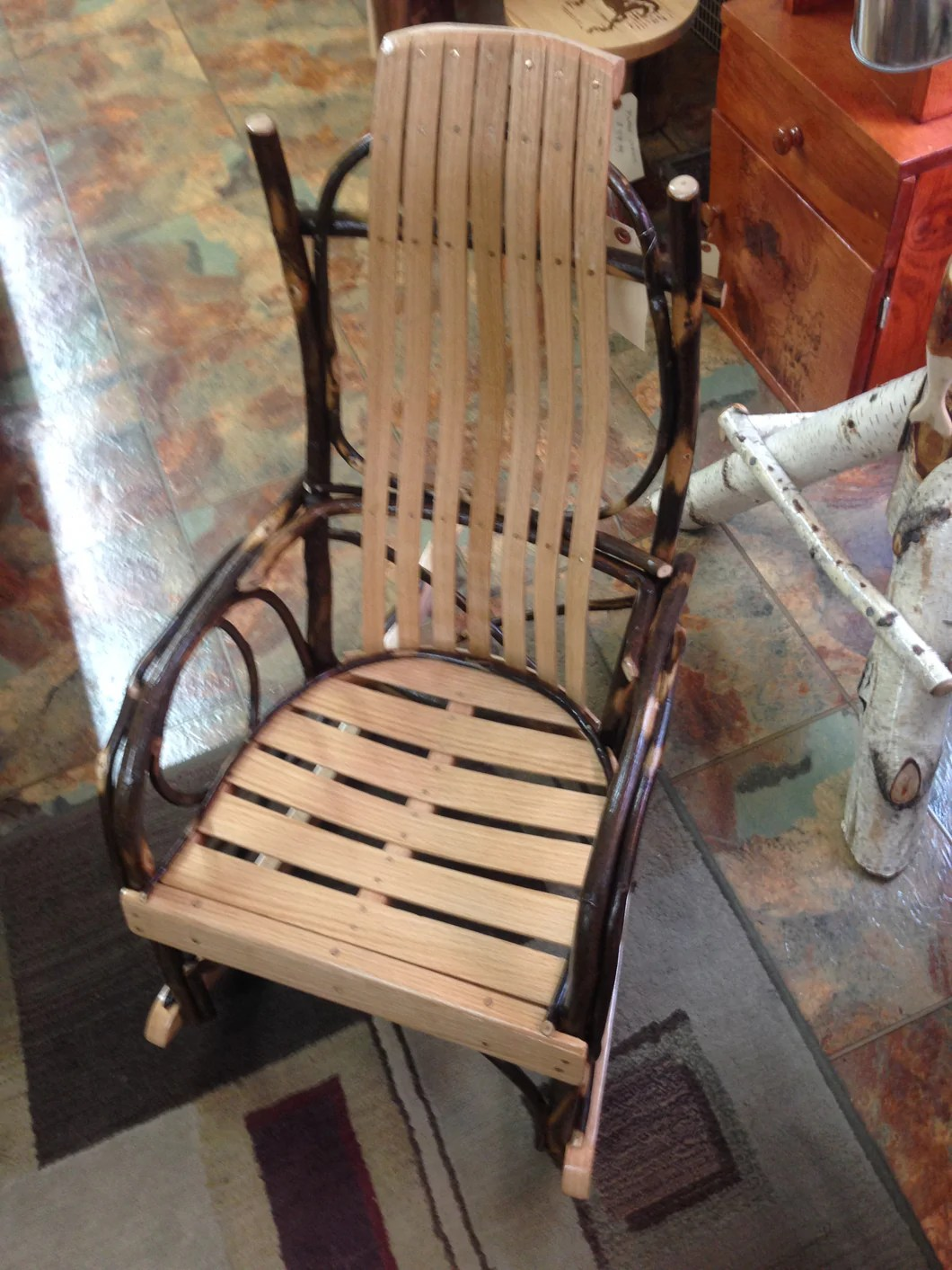 Amish Rocking Chair Rocker Child S Size Amish Bentwood Hickory Twig Arms Natural Color Finish