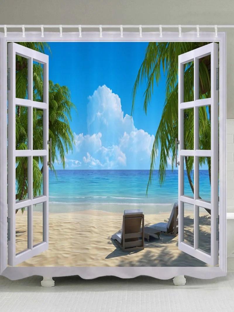 Nautical Beach Window Views Shower Curtain Blue Bath Decor
