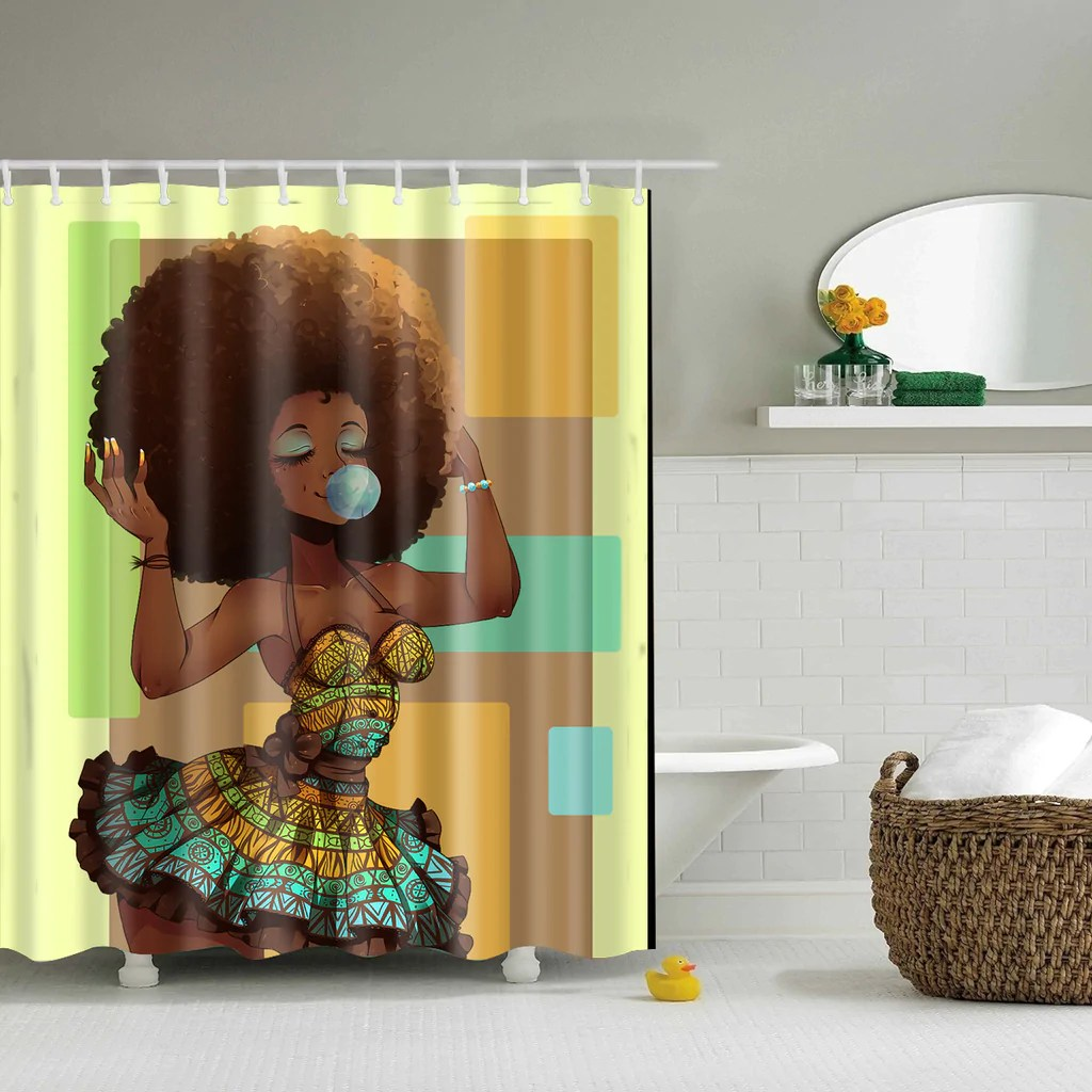 afro diva african girl hairstyle blowing gum shower curtain bathroom decor