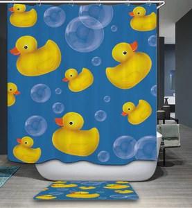 cartoon bubble bath with rubber duck shower curtain