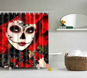 catrina makeup skull day of the dead shower curtain bathroom decor