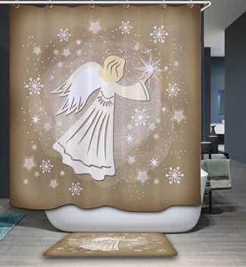 christmas decoration angel shower curtain bathroom decor