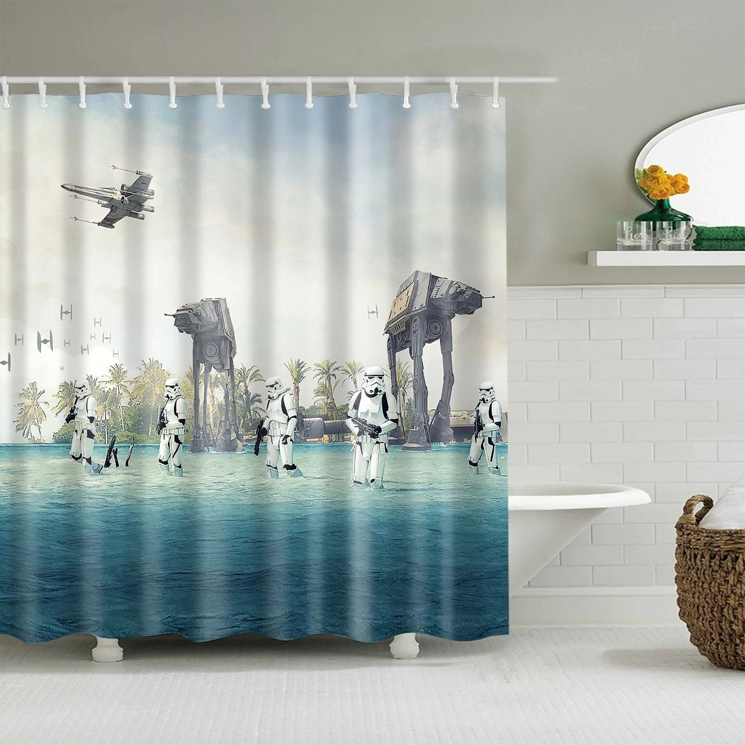 coming storm trooper star wars shower curtain