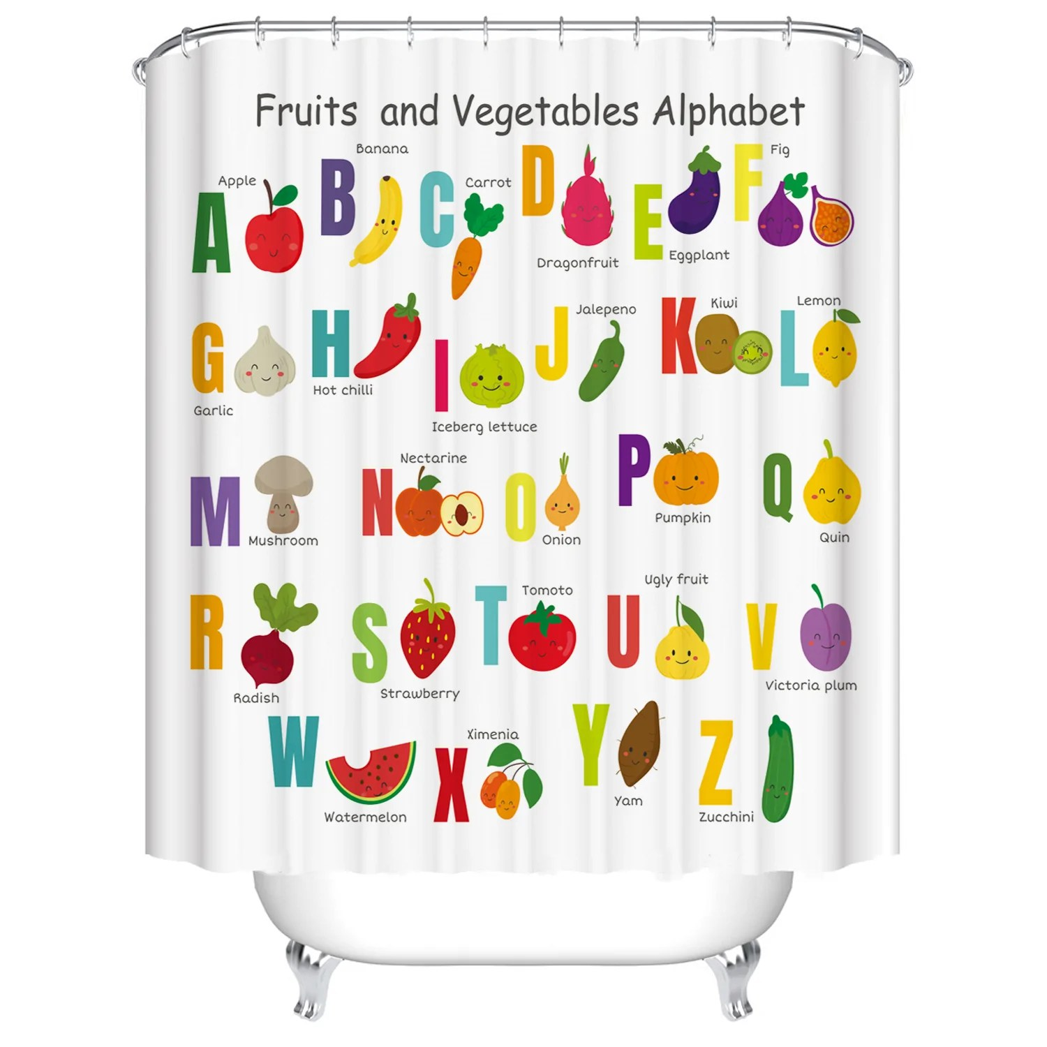 cute cartoon kids learning abc a z words fruits and vegetables alphabet shower curtain