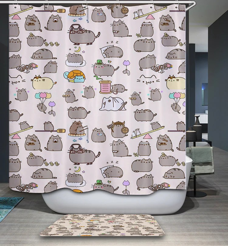 Cute Pusheen Cat Shower Curtain  GoJeek