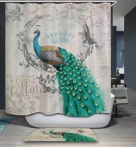 queen peacock shower curtain elegant girly birds