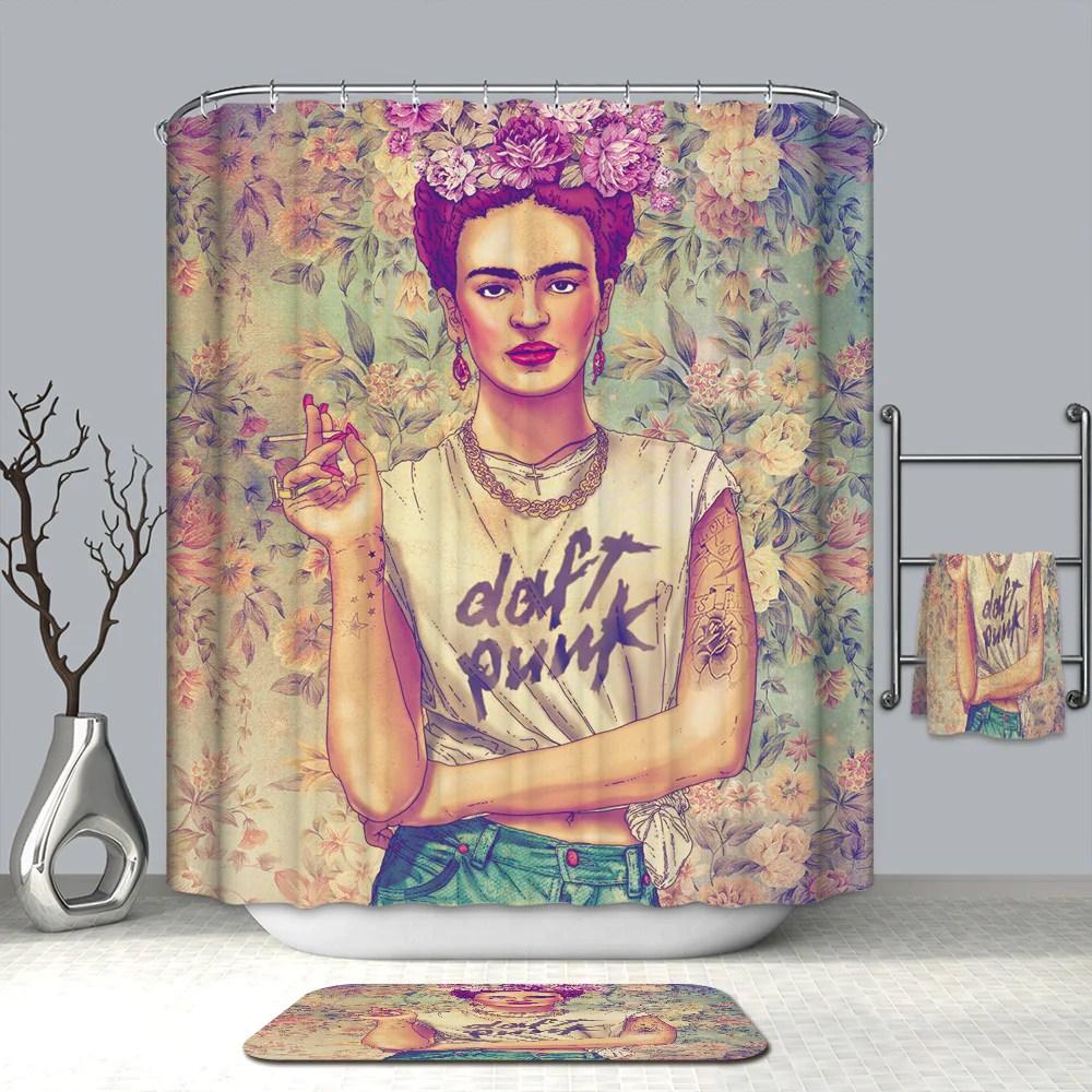 beruhmte kunst design blumen frida kahlo duschvorhang gojeek