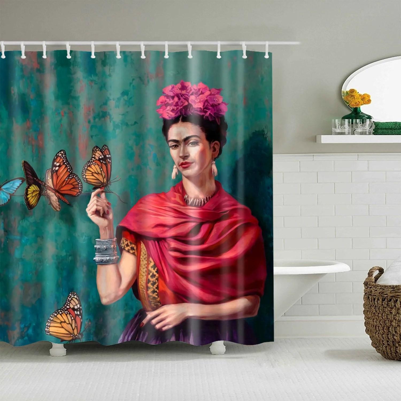 frida kahlo duschvorhang schmetterling badezimmer dekor