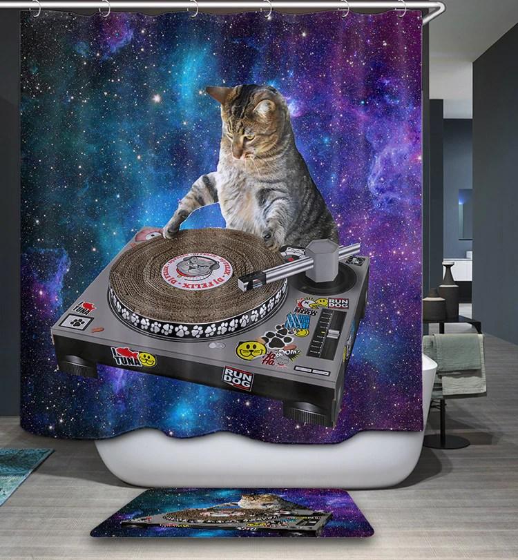 lustiger dj space cat duschvorhang gojeek