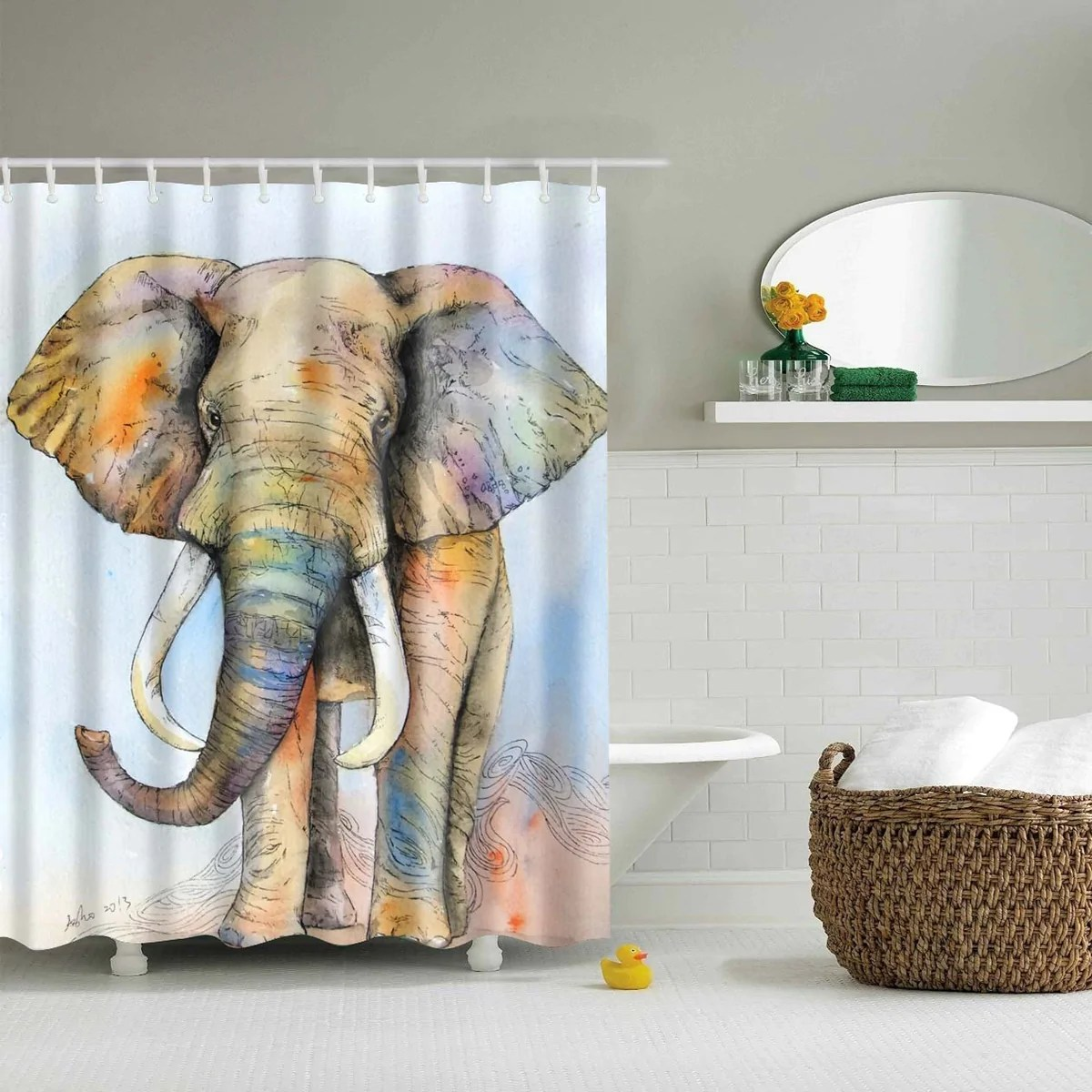 Kids Colorful Elephant Shower Curtain  GoJeek