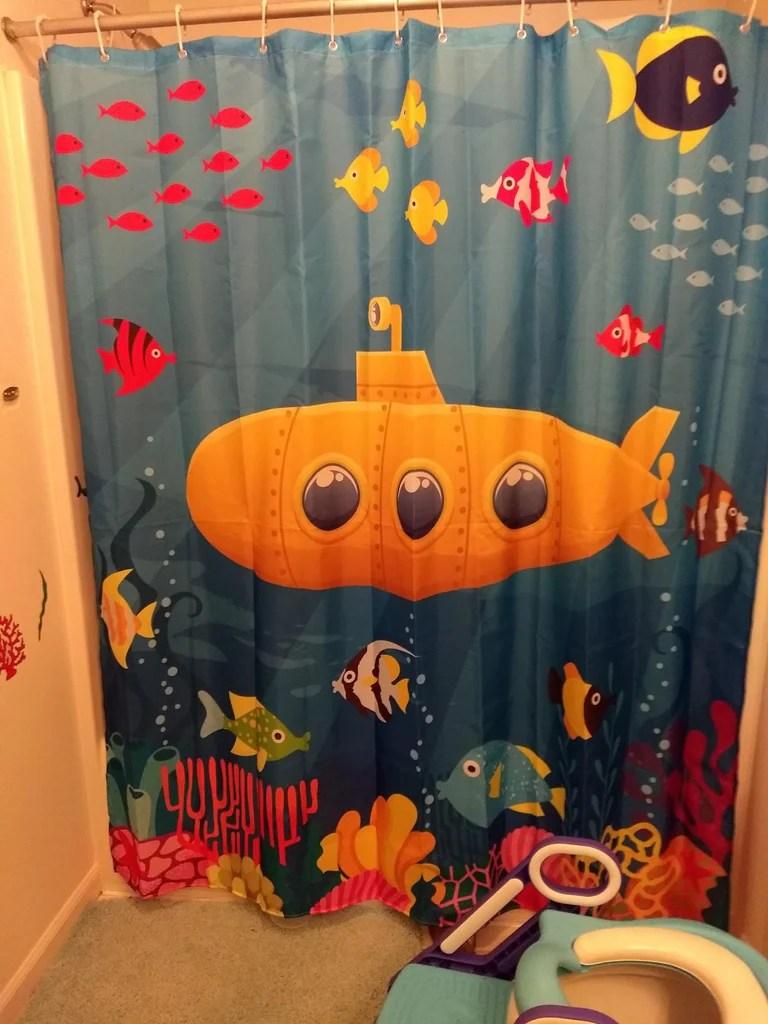 Kids Nautical Yellow Cute Submarine Shower Curtain Bathroom Decor
