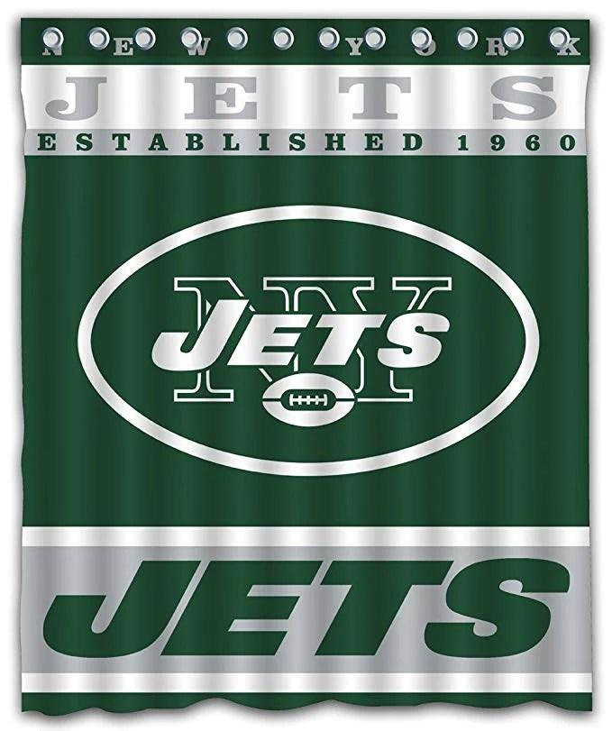 nfl jets football team logo shower curtain gojeek