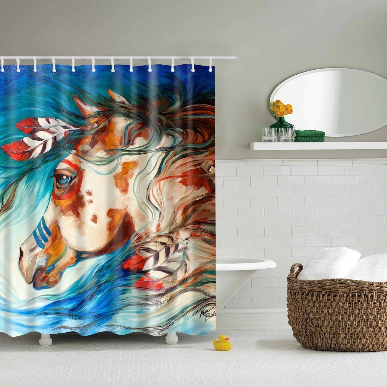 native american indians tribal horses art shower curtain ethnic bathroom decor