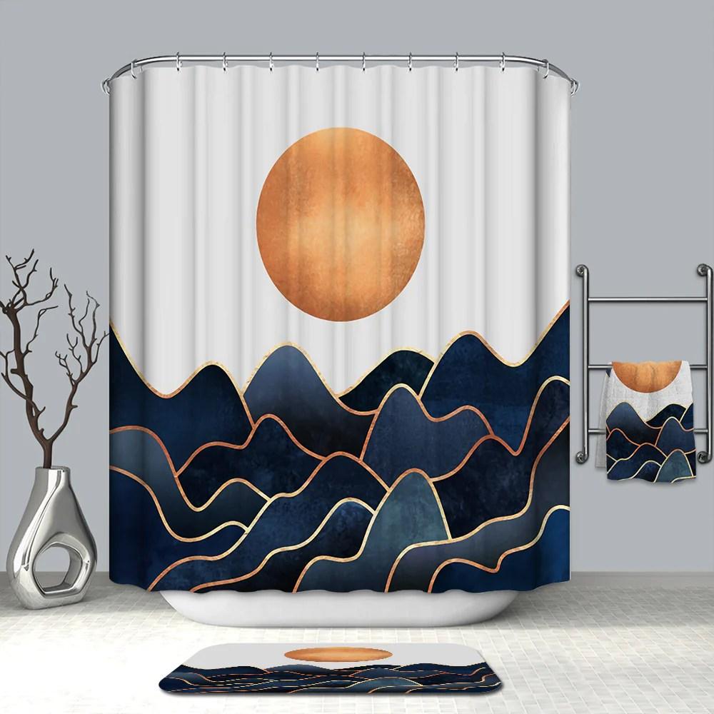 navy ocean blue with gold flowing seawater orange sun abstract ocean shower curtain bathroom decor gojeek