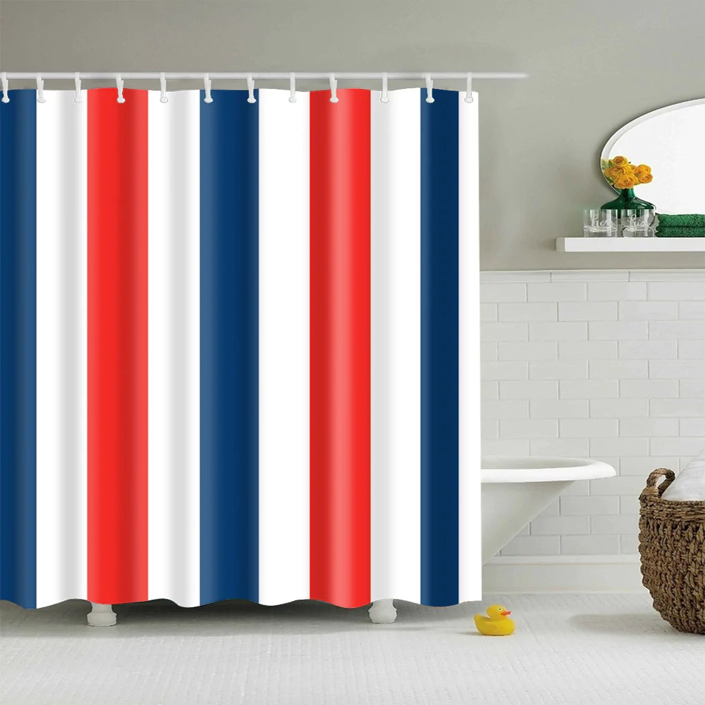 Navy Blue White Red Striped Shower Curtain Bathroom Decor