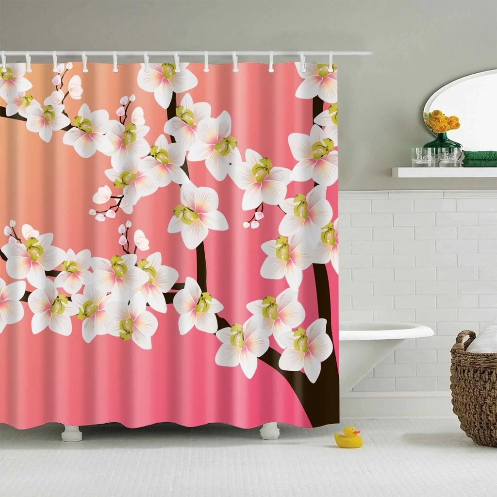 Pink Backdrop Cherry Blossom Shower Curtain Bathroom Decor
