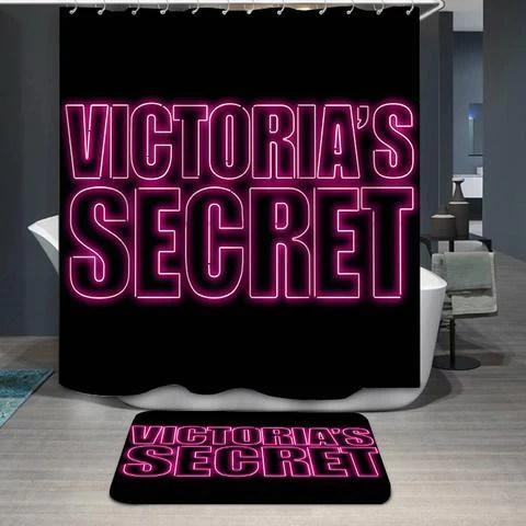 pink black backdrop victoria secret shower curtain