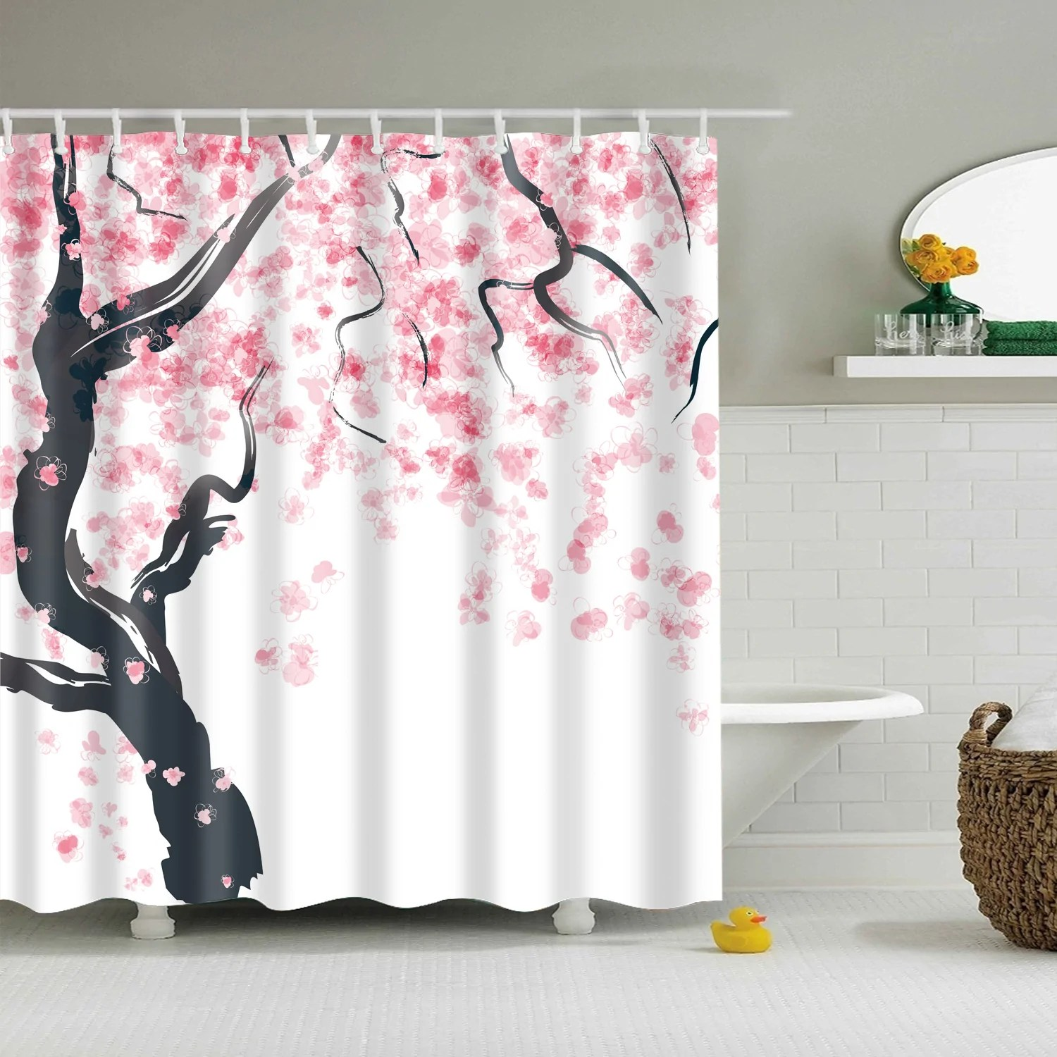 Pink Cherry Blossom Japanese Style Shower Curtain Gojeek