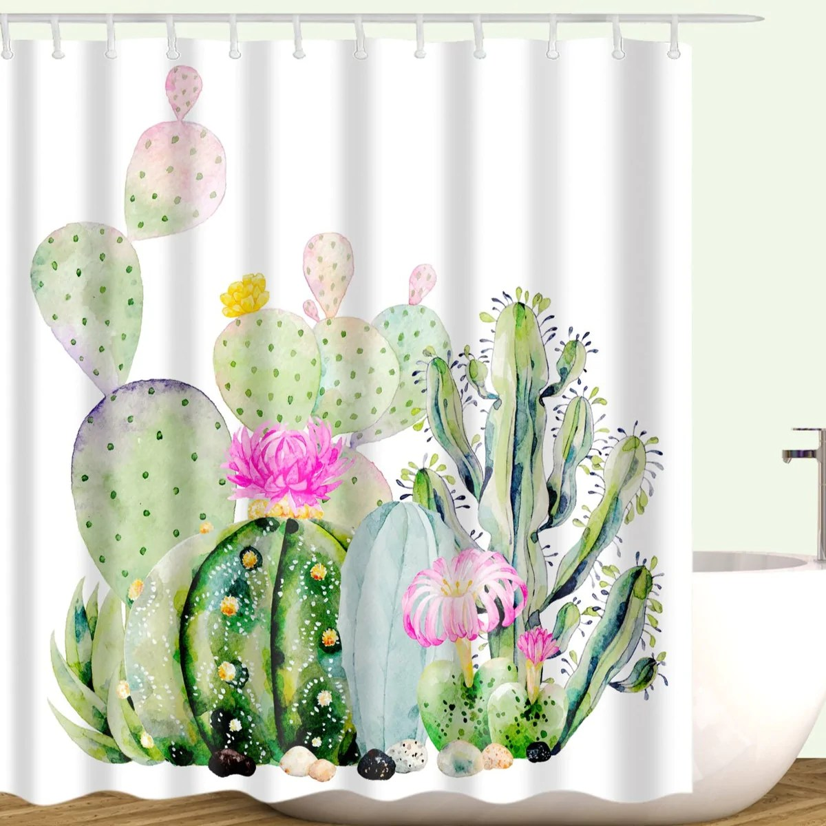 pink green aquarell malerei sukkulenten kaktus duschvorhang gojeek