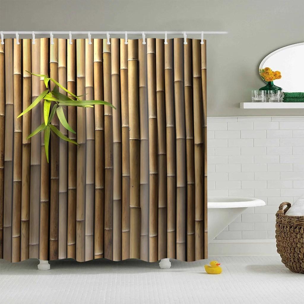 Real Bamboo Wall Fabric Print Shower Curtain Bathroom Decor