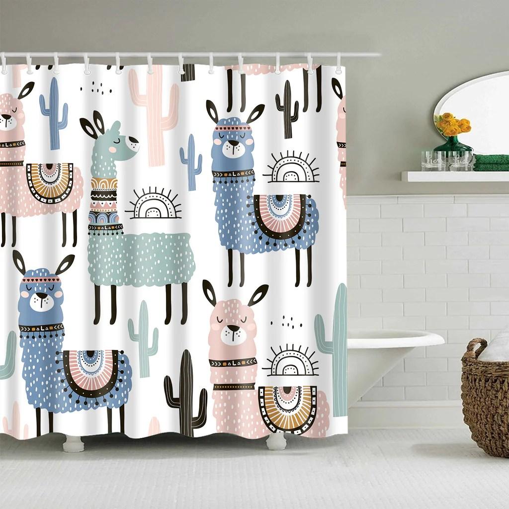 https gojeek com products seamless llama cactus shower curtain cute animal with cactus bathroom decor