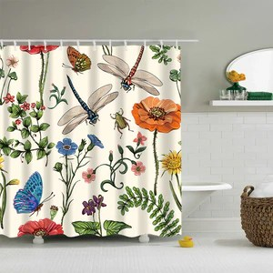 vintage botanical dragonfly insects with flowers beetles nature plants shower curtain