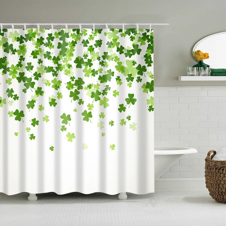 white backdrop falling shamrock clover st patrick day shower curtain