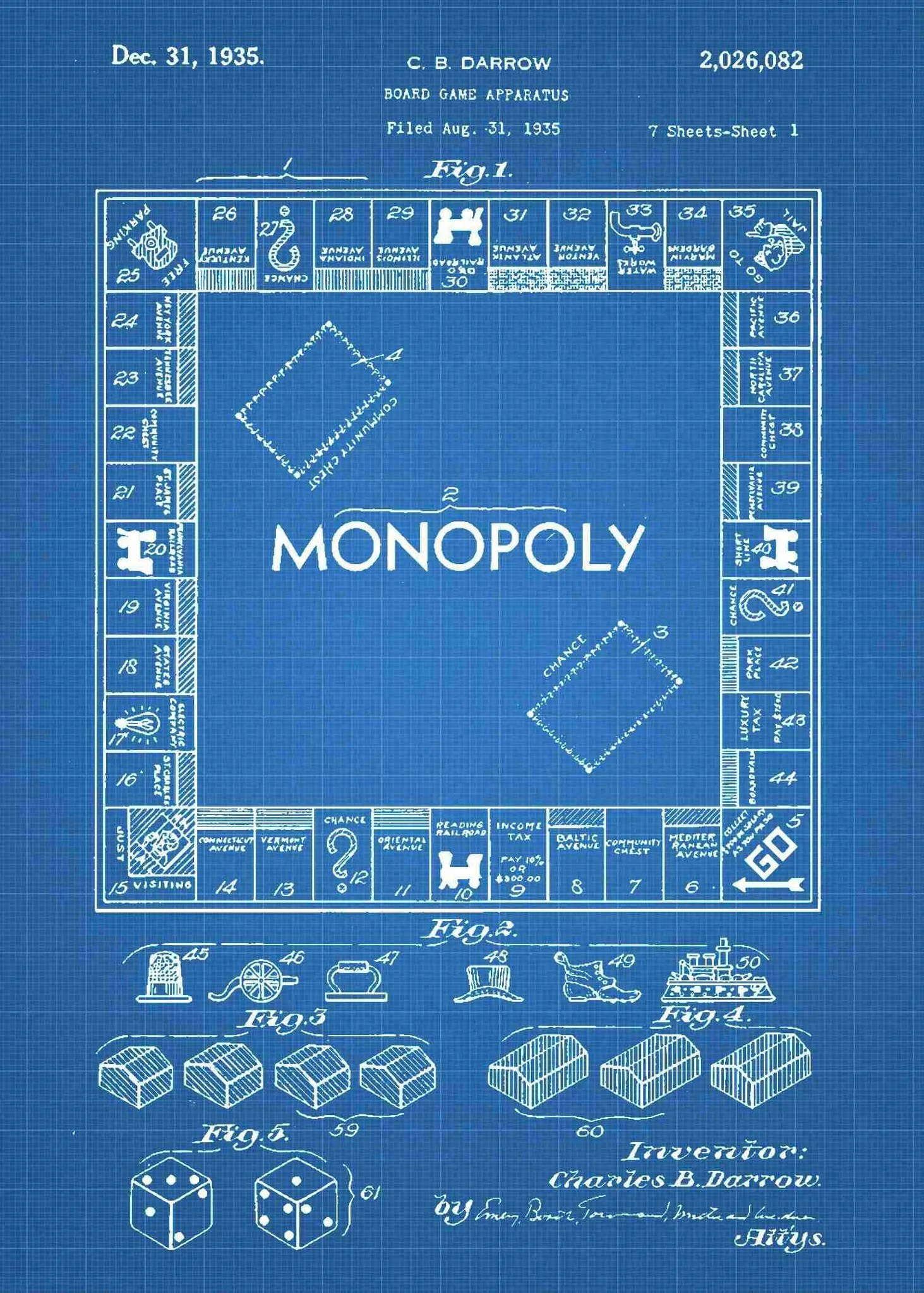 medium resolution of  monopoly board patent print monopoly poste rin the style blueprint