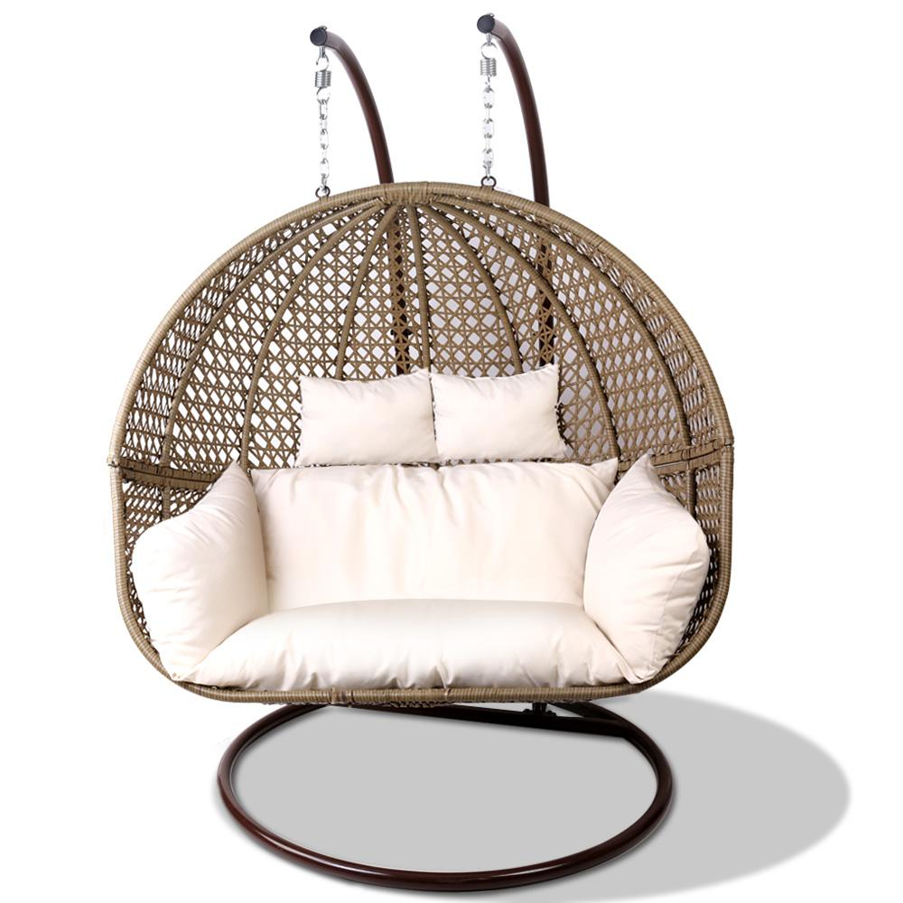 Double Egg Chair Outdoor Double Hanging Egg Swing Chair Brown Outdoor Furniture