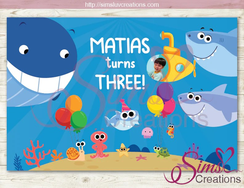 finny the baby shark and friends printable backdrop banner super sim sims luv creations