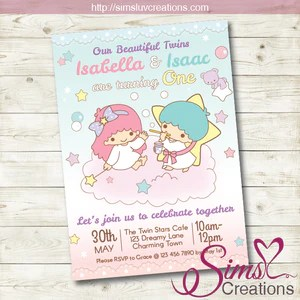 little twin stars birthday printable invitation twins party invitation
