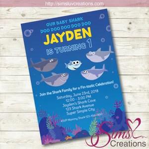 super simple baby shark birthday printable invitation baby shark party invitation