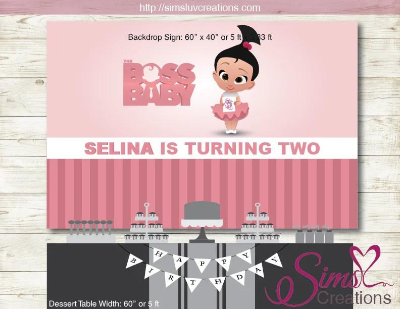 BOSS BABY STACI PRINTABLE BIRTHDAY BACKDROP BANNER PINK BOSS BABY GI Sims Luv Creations