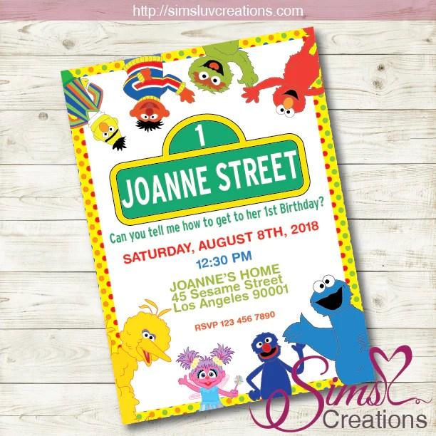 sesame street birthday printable invitation sesame street party invitation