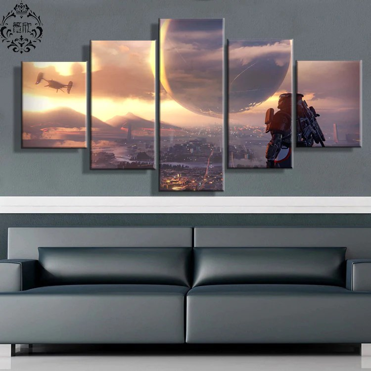 modern artwork for living room small formal with fireplace 5 pieces game poster destiny scenic wall art painting canvas printed pictures home decor