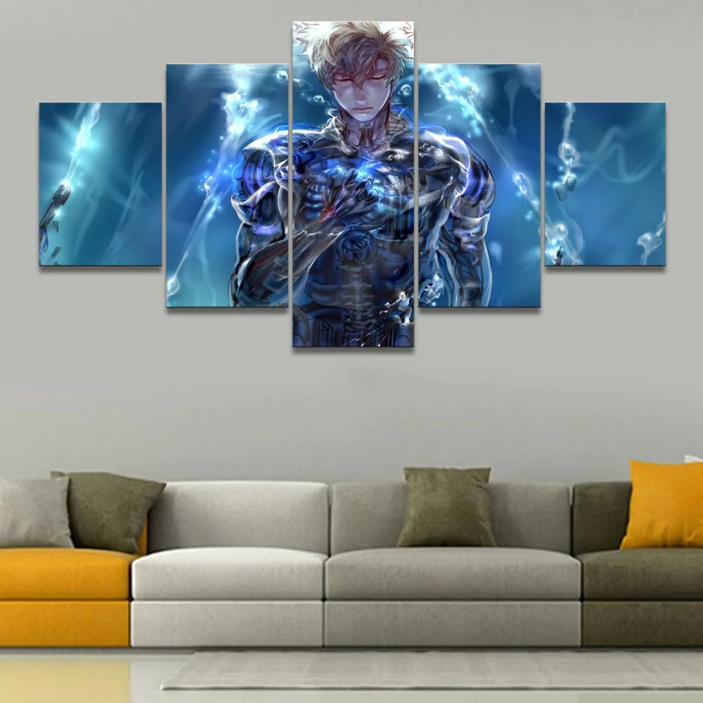 modern artwork for living room light grey walls white trim wall art painting pictures canvas printed poster 5 panel aniem one punch man genos home decor
