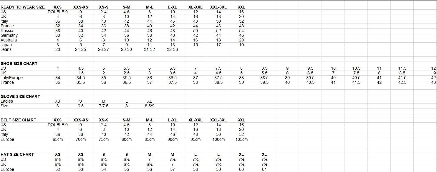 Women   sizing chart also charts your wishlist rh yourwishlistore
