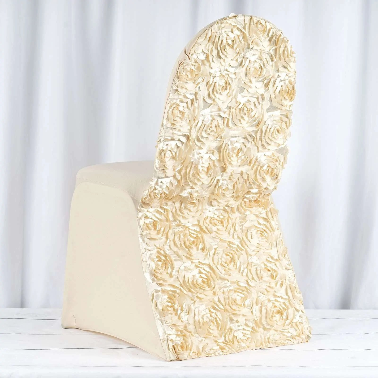 champagne banquet chair covers caning kit satin rosette stretch spandex cover chaircoverfactory
