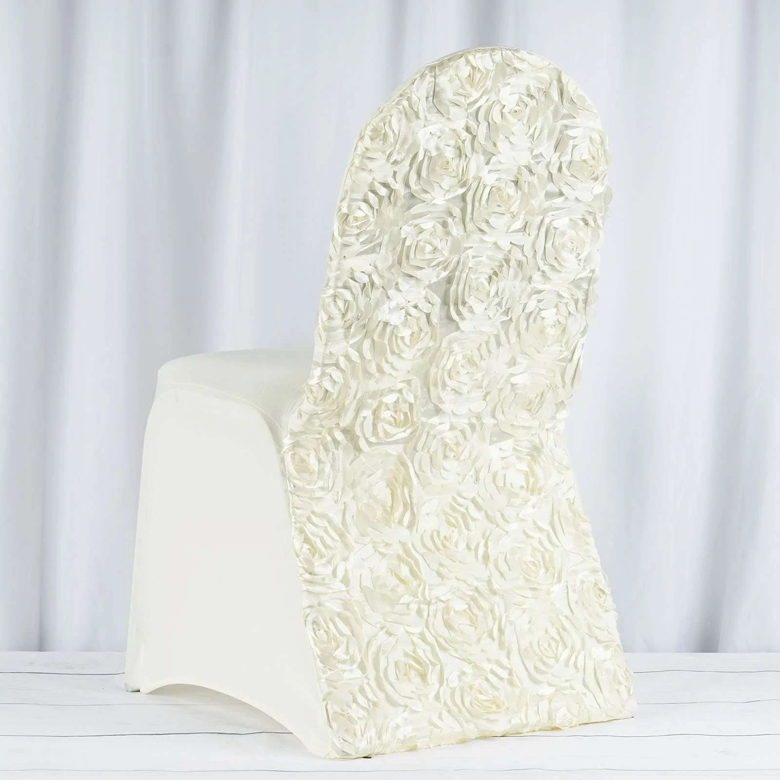 ivory chair covers spandex teak folding chairs satin rosette stretch banquet cover