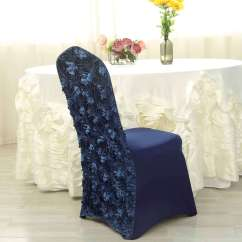 Blue Spandex Chair Covers Crate And Barrel Swivel Satin Rosette Navy Stretch Banquet Cover