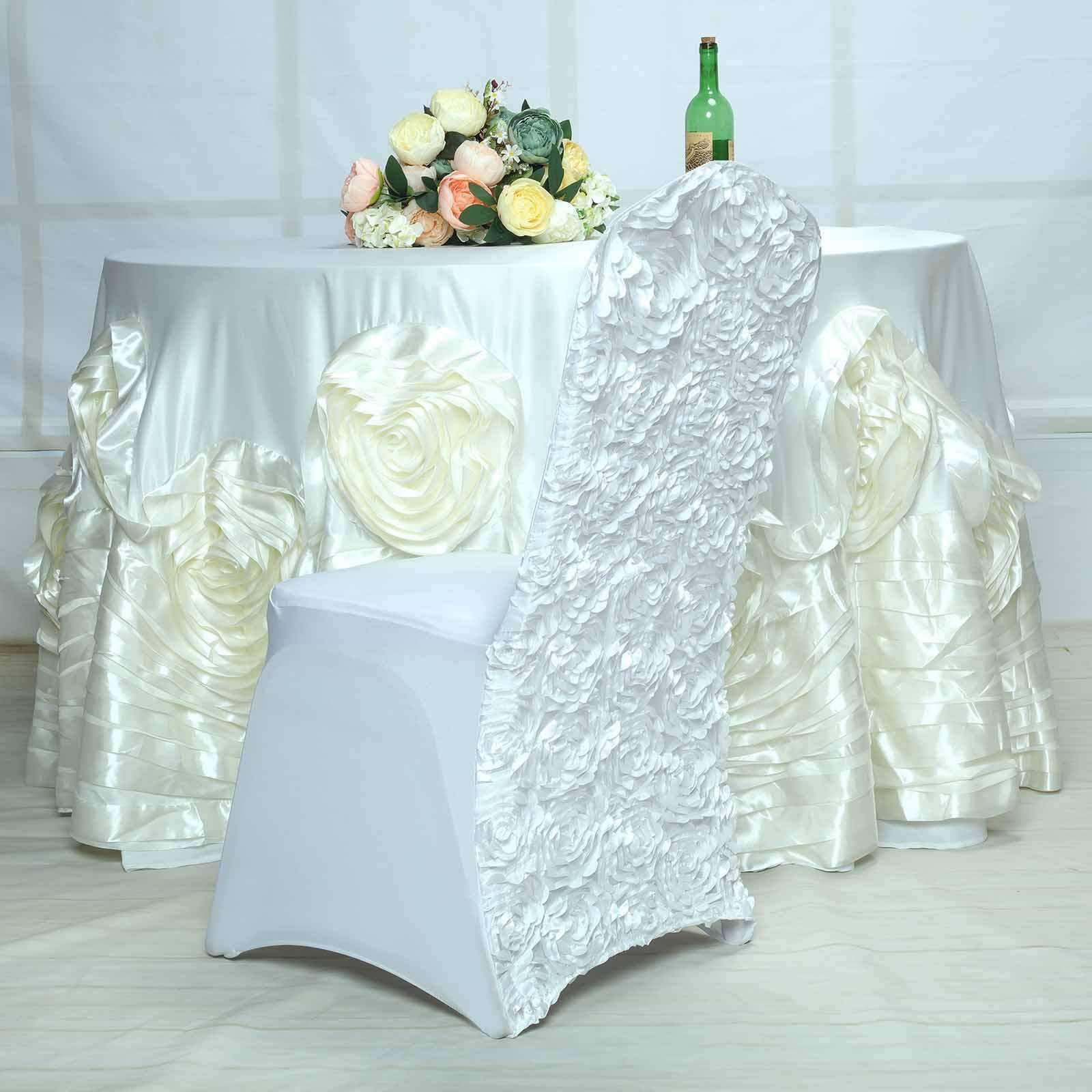 white linen chair covers for sale ozark trail reclining satin rosette stretch banquet spandex cover chaircoverfactory
