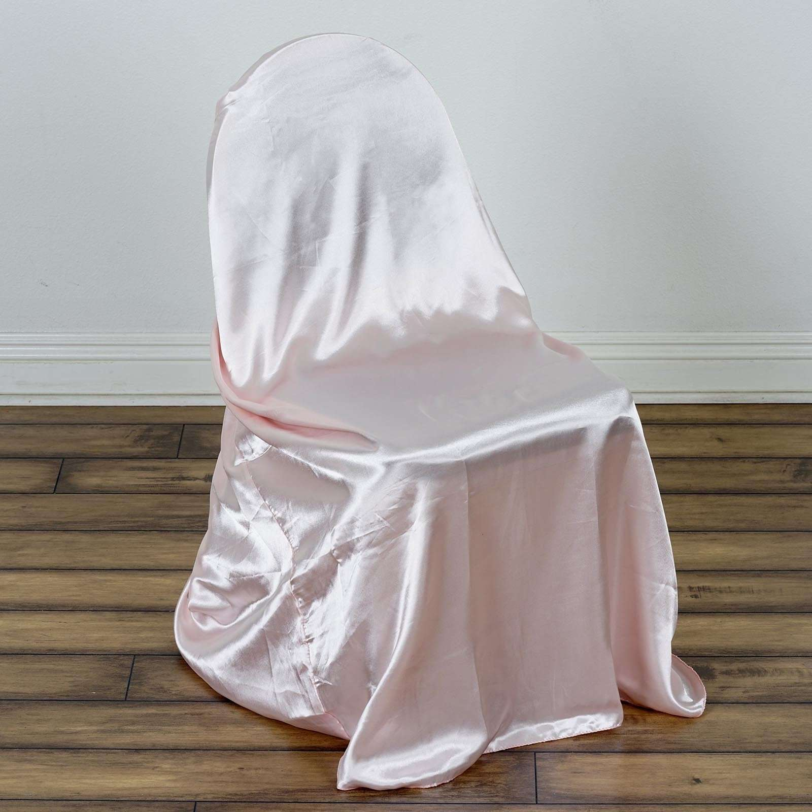 chair covers rose gold outdoor cushions clearance universal satin cover blush chaircoverfactory