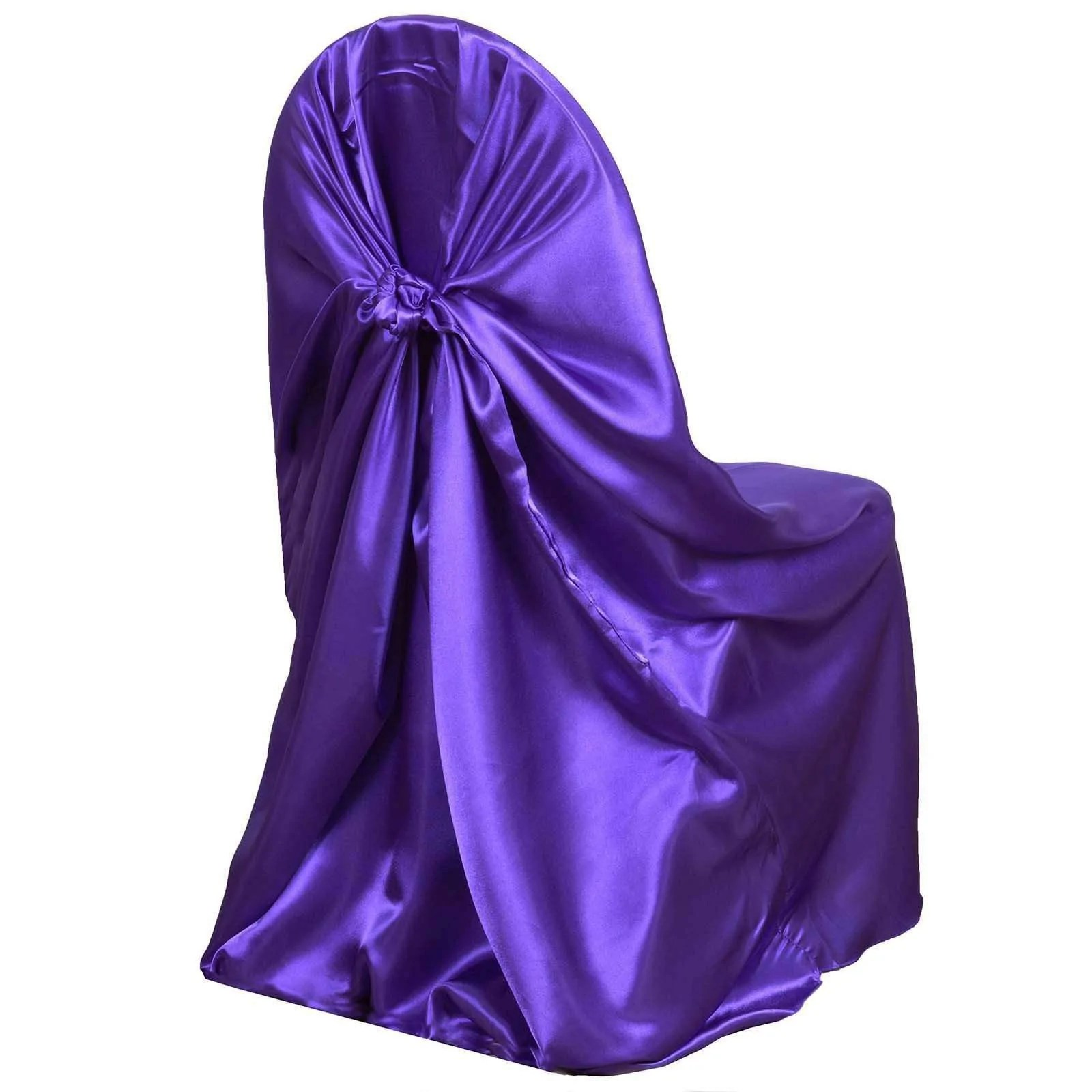 universal wedding chair covers sale wingback dining room chairs purple satin cover for banquet party decor
