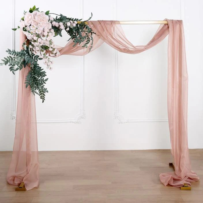 18ft dusty rose sheer organza curtain panels window scarf valance wedding arch draping fabric chaircoverfactory