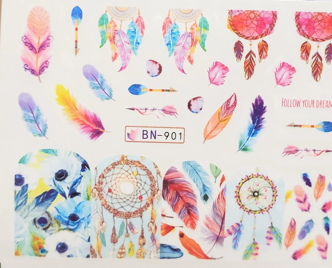 Feather Dream Catcher Water Transfer Nail Decals