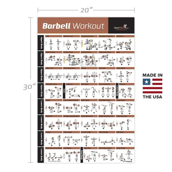 Barbell workout exercise poster laminated home gym weight lifting chart build muscle tone also rh shopifized