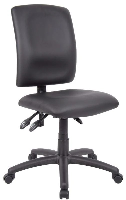 ergonomic chair without arms hanging name office multi function middle back black fabric pu leatherette